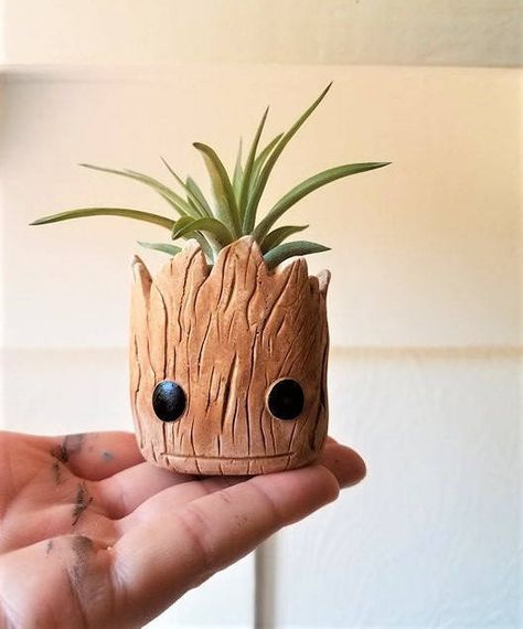 Groot planter gift set, baby Groot, Rocket the raccoon, air plant gift, gift for him, gift for her, unique Valentines day gift, desk plant