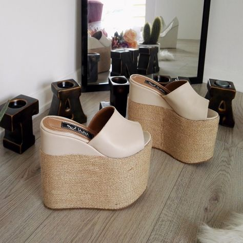 fc55cb555253 Peep Toe Cream Espadril High Platform Wedge Mules – Tajna Club