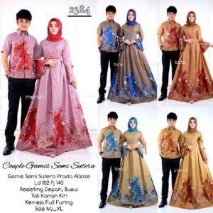 Model Baju Batik Gamis Couple D2384 Semisutera 2018