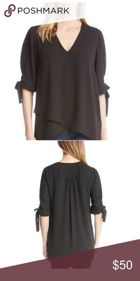 NWT Karen Kane Bow Sleeve Crossover Top L Darling ties at the sleeve add playful charm t Karen Kane Tops Tunics