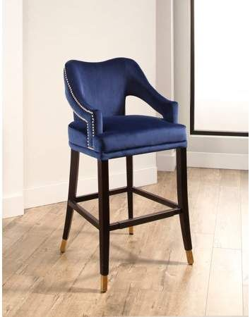 Devon Claire Hailey Curved Back Velvet Bar Stool Navy Blue Walmart Com Bar Stools Blue Bar Stools Furniture