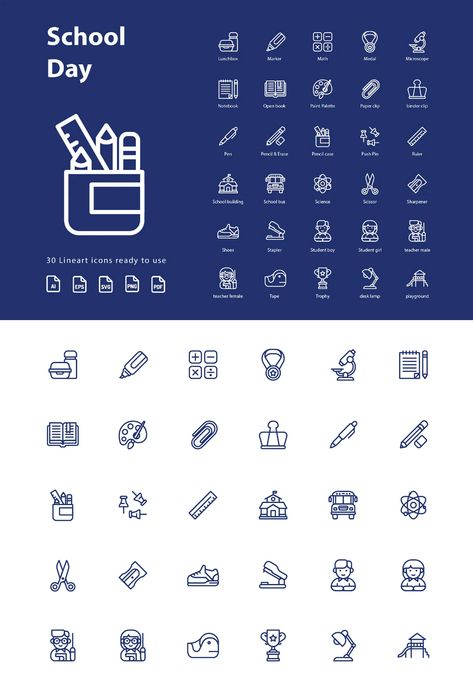 School Day (Line) Icons AI, EPS