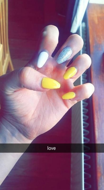 New Nails Yellow White Ideas White And Silver Nails White Summer Nails Square Stiletto Nails