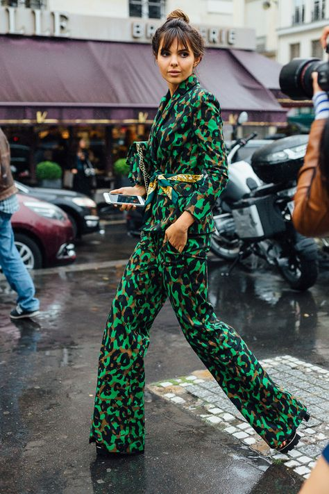 Couture Culture: The Best Street Style from Paris. I love CAMO!!! Thank you Versace.