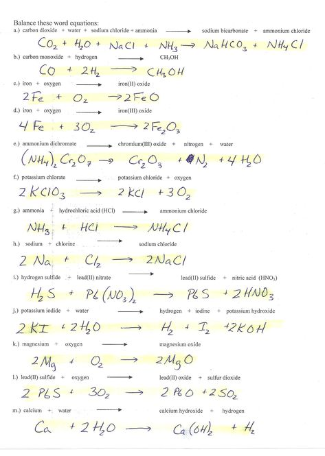 Balancing Equations Race Worksheet Answers Chemfiesta ...