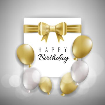 Birthday Card With Golden And White Balloons Birthday White