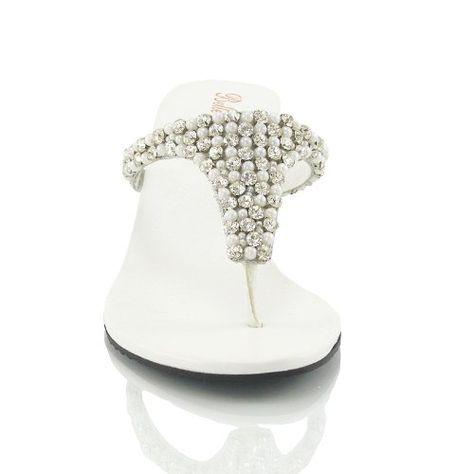 909c77456506 LADIES FLAT DIAMANTE TOE POST WOMENS WEDGE SPARKLE DRESSY PARTY SANDALS  SIZE 3 4 5 6 7 8 9  Amazon.co.uk  Shoes   Bags