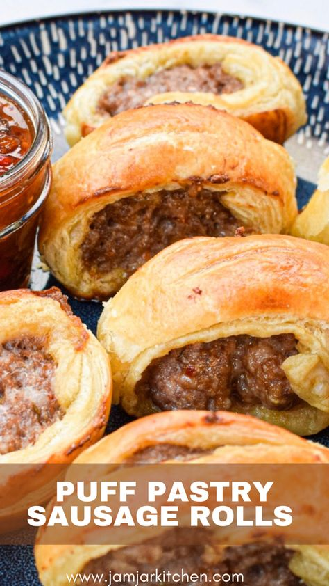 These classic British sausage rolls are so simple to throw together and make a delcious snack, breakfast or heavy appetizer. Serve them with tomato chutney for a perfect bite! #sausagerolls #puffpastryrecipes