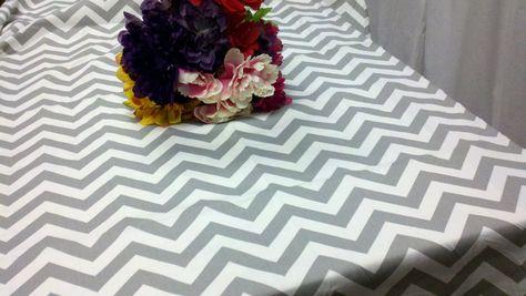 Grey Chevron Tablecloth | or 54x108 grey and white table cloth rectangle gray zigzag chevron ...