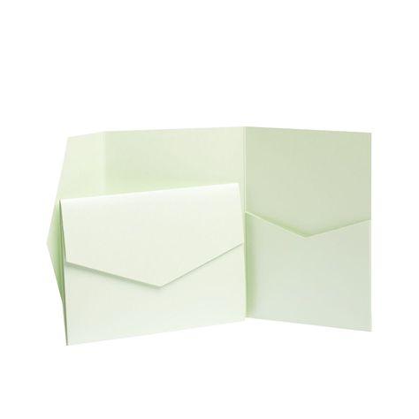 DIY Wedding Wallets Mint Green Pearlescent Pocketfold Invites with envelopes