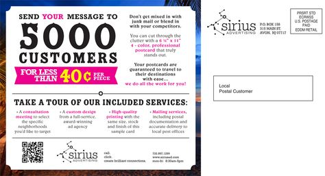 Sirius Advertising Direct Mail Postcard Back Direct Mail - postcard format template