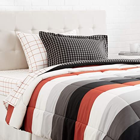 Amazon Basics 5 Piece Light Weight Microfiber Bed In A Bag Comforter Bedding Set Twin Red Simple Stripe In 2021 Twin Bed Sets Comforter Bedding Sets Bed Comforters