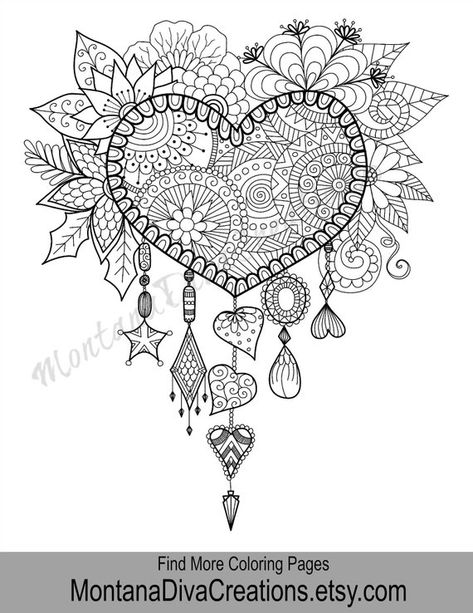 Love Coloring Adult Coloring Page - Printable Coloring Art Therapy - Pretty Pattern - Printable Colo