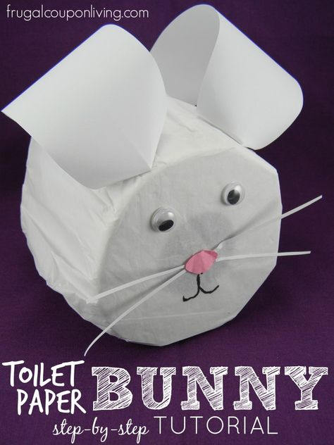 Toilet Paper Easter Bunny Craft - Step by Step Tutorial for Spring