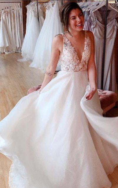 A Line V Neckline Lace Wedding Dress From Sancta Sophia Cheap Wedding Dress Wedding Dresses Lace A Line Wedding Dress