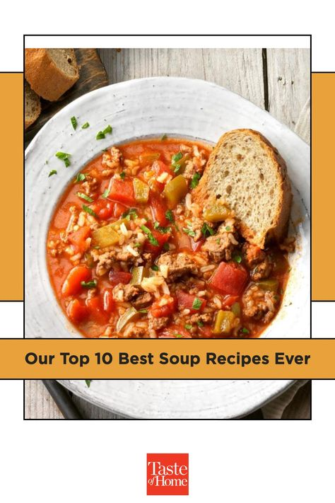 Simmer up one of our 10 best soups! Choose from potato, chicken noodle, cheesy chowder and other classic recipes.