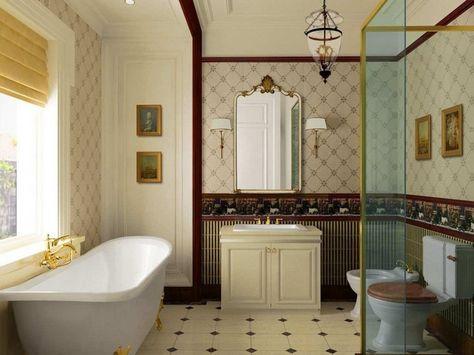 Beau Décoration Salle De Bains De Style Vintage  Idées Sur Les Luminaires, Les  Papiers Peints Et Le Miroir