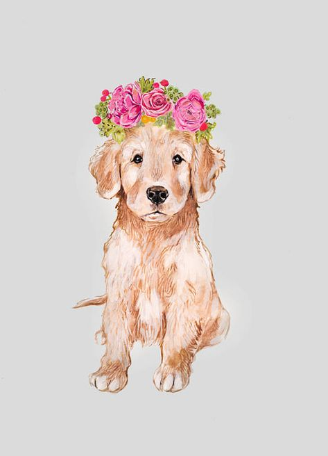 Golden Retriever Flower Crown
