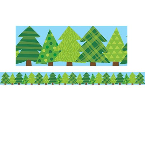 """Playful evergreens stand in a row on this Patterned Pine Trees border. With subtle patterns of plaid, polka dots, leaves and stripes, these pine trees will complement a wide-variety of bulletin board displays including those related to camping, science, plants, nature, animals, winter and more. Measures 3"""" wide. Each pack includes 35 feet of border. Sold as 6 packs for a total of 210 feet of border. Border Idea: Add style and pops of color to any bulletin board by mixing, matching and layering o"""