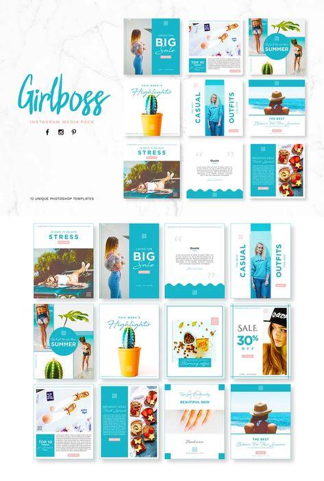 Girlboss Social Media Pack Design PSD