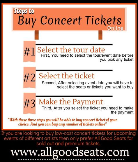 Follow simple three steps to buy concert tickets online at All - make concert tickets