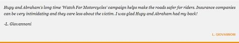 Read these words of thanks to our motorcycle accident attorneys.