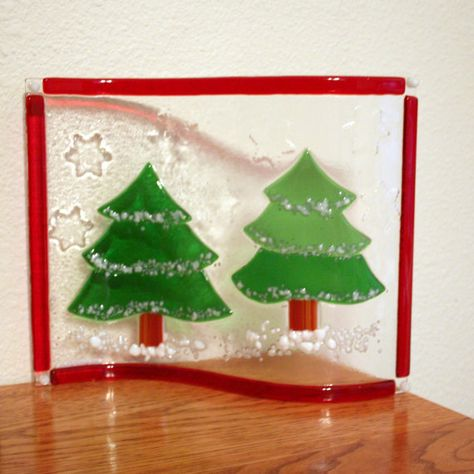Winter snow tree scene with embossed snowflakes and red border, free standing display, original by Glasspainter1, $65.00