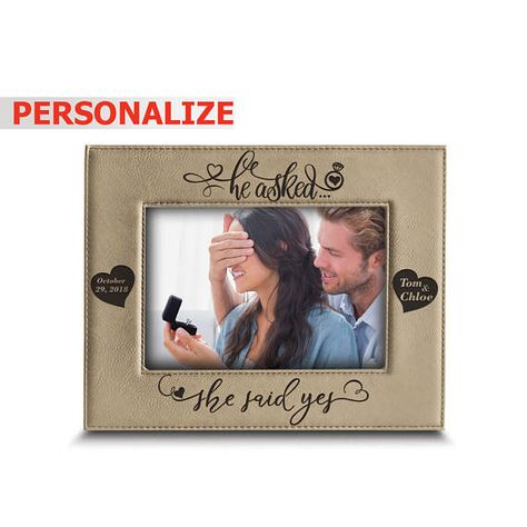 Personalize He Asked She Said Yes Engagement Leather Photo Frame