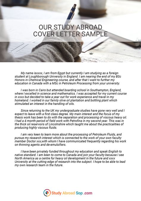 Writing can be hard, but this cover letter for study abroad sample - letter of intent for university