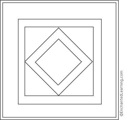 Amish Quilt Diamond Center Coloring Page Amish Quilts Coloring Pages Quilt Patterns