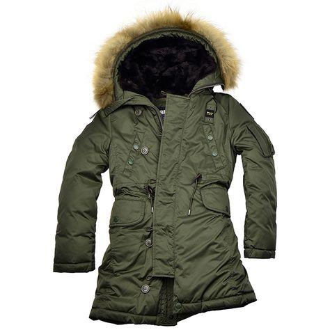 Blauer USA Mädchen Wintermantel mit Kapuze aus Pelz und Fell