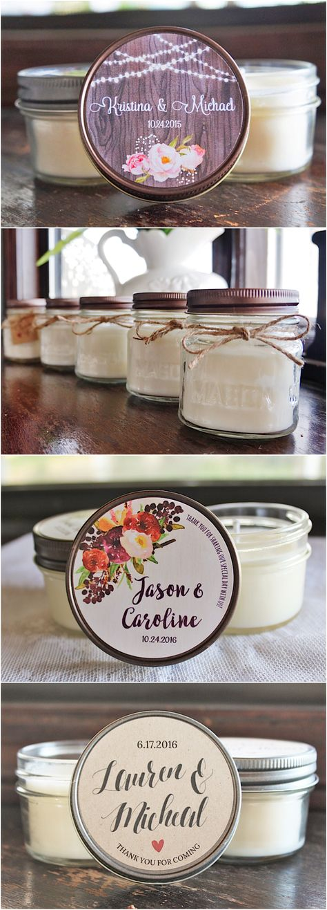 Personalized Wedding Favor Idea: eco-friendly soy candles from TheDancingWick #diyweddingsouvenirideas
