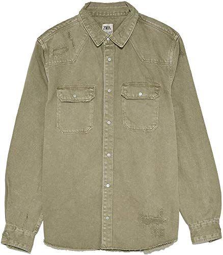Zara Men Ripped Denim Overshirt 2631//350