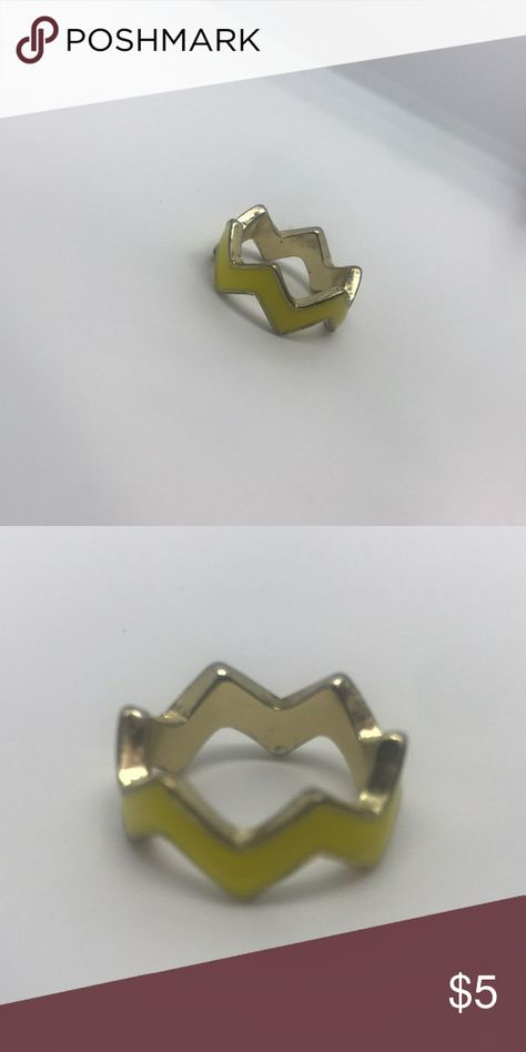 f117f70f3 Yellow Lightning Bolt Zig-Zag Ring Jewelry Rings   My Posh Closet ...
