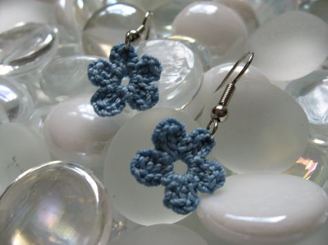 Crochet Blue Flower Earrings
