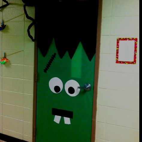 trying a version for my house door...i will utilize crepe paper.......will pin a pic when i get mine done  Frankenstein-Door-Display