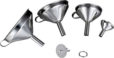 New Kitchen Funnel Stainless Steel Funnel Large Removable Strainer Cooking Oils