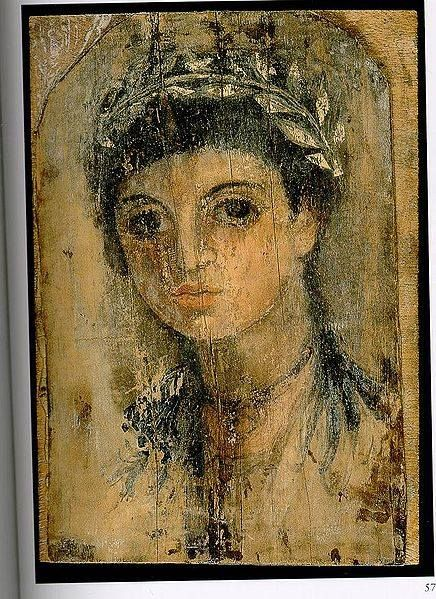 Fayum portrait of a young girl, quite damaged, but still wonderful. 2nd cent. CE.