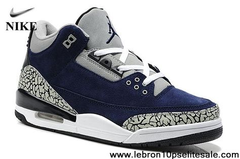 Best Gift Suede Navy Blue/White Cement Air Jordan 3(III ...