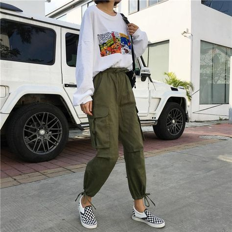 Pants Women 2019 Ankle-Length High Drawstring Waist Solid Pockets Womens Leisure Loose Korean Style Simple All-match Trendy Chic