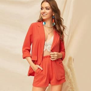Orange Single Button Notched Collar Blazer Double Pocket Blazers #work #womenwork #womanwork #coat #womencoat #womancoat#coats #blazer #womenblazer #womanblazer #workwear #dress #dresses #interview #meet #meeting #date #dating #love #wome #girl #lady #office #dinner #outfit #casual #cute #highheel #party #top #tops #blouse #blouses #jacket #office #Leggings #Legging #miniskirt #fashion #skirt #legs #PANT #PANTS #suit #suits #womansuit #womensuits #womansui #LeatherJacketsForMenblue