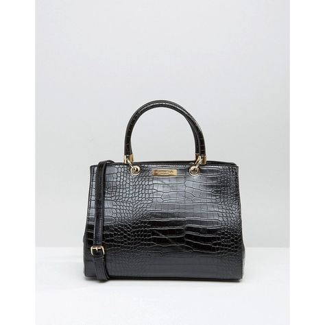 Carvela Tote Bag In Mock Croc ($73) ❤ liked on Polyvore featuring bags, handbags, tote bags, black, shoulder strap purses, handbags totes, print tote bags, crocodile purse and tote purses