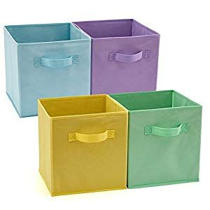 Ezoware Set Of 4 Foldable Fabric Basket Bins Collapsible Storage Cube For Nursery Home And Office 10 5x 10 5 X 11 Inch Assorted Color Crib Bedding Crib In 2020 Collapsible