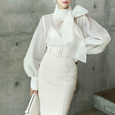 Sleeve Style: lantern Sleeve. Material: Polyester. Sleeve Length(cm): Full. Clothing Length: Regular. Style: Office Lady. Size tables .