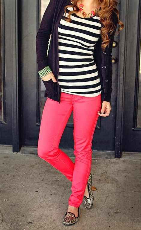 9.25.2013. Inspired by this to wear b/we striped tunic, neon pink skinny jeans, peep toe pumps and black Lululemon jacket with pink bubble necklace. A keeper.