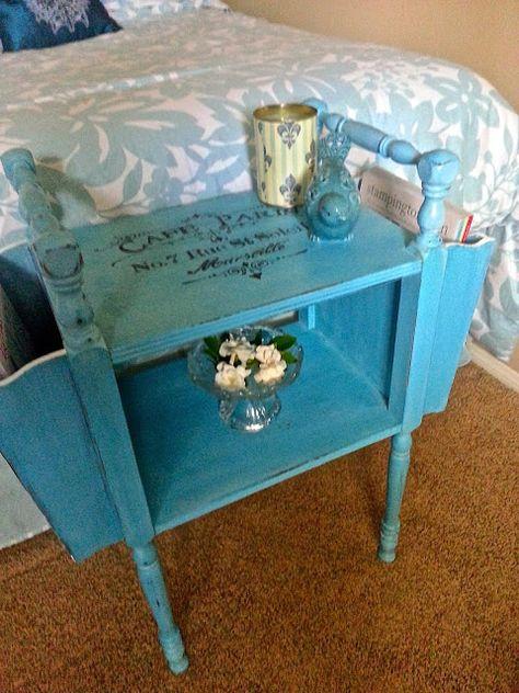 The Altered Flea Painted Furniture Designs Aqua Painted Furniture Vintage Side Table