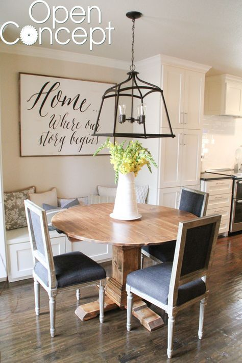 Diy Round Table As Seen On Hgtv Open Concept Round Pedestal Dining Table Breakfast Nook Table Pedestal Dining Table