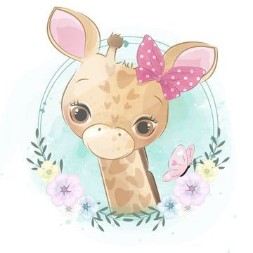 Cute Little Giraffe Portrait Watercolor Baby Love Png And Vector With Transparent Background For Free Download Baby Animal Drawings Cute Cartoon Animals Cute Drawings