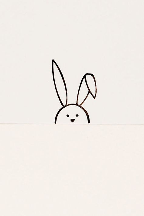 Sweet Flop Eared Bunny simple stamp - Non-mounted hand carved rubber stamp - peekaboo animal stamp