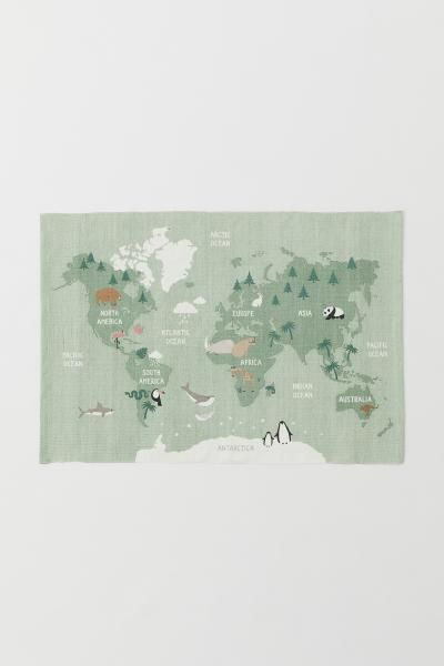 Pdp World Map Rug Cotton Rug Map Rug
